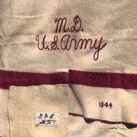 WW II World War 1944 MD US Army Stripe Wool Cabin Trade Blanket