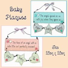 BABY WOOD PLAQUE SIGN GIRL BOY WITH 3 HEART  DECORATION AND WORDING