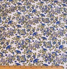 Arabella Floral Fabric By Yard 100%25 Cotton Benartex Tole Blue Yellow on White