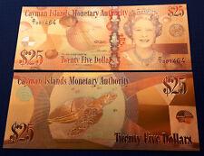 Billet couleur CAYMAN ISLAND 25 $ Tweety five Dollars Polymère OR Elisabeth II