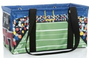 Thirty One 31 Medium Utility Tote in Touchdown Time Football Blue/Green NEW