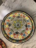 Handmade Turkish Moroccan MosaicBLUE  Red White Iznik Bowl