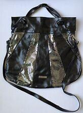 Pulicati Bag Italian Leather Handbag Purse Large Tote Black&Metallic Silver NWOT
