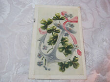 ANTIQUE 1910 POSTCARD WITH CLOVERS AND ANCHOR   T*