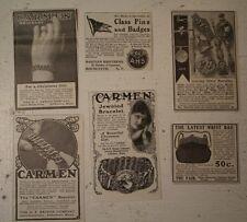 CARMEN VICTORIAN JEWELRY POCKETBOOK pins badges 1902  vtg old antique print ADS