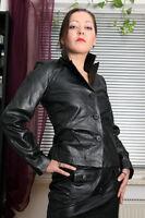 S203 Damen Leder Jacke Lederjacke mit Knöpfen in L der Marke Erogance Handarbeit