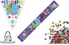 40th Birthday Decoration Kit Banner Bunting Confetti Men's Party Decor