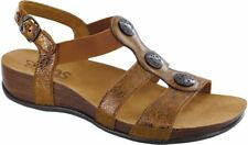 Size 8 W SAS San Antonio Shoes Clover Crackle Bronze  Leather  Buckle Sandals