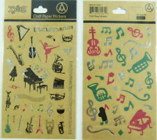 Craft Paper Stickers - Music Themed Musical Instruments and Musical Notes (2 ...