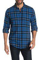 Ezekiel Mens Shirt Blue Black Size 2XL Button Down Spade Plaid Flannel $58 230