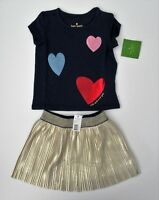 NWT Kate Spade Girls SS Tossed Heart Top Metallic Gold Skirt Set Sz 2t 3t 4t NEW