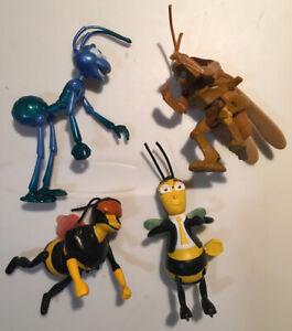 Bee Movie McDonalds Figures + A Bug's Life Flik Figure Wind-Up Toys