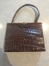 Vintage Reptile Salt Water Crocodile Skin W. Calf Leather Handbag Bag