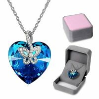 Butterfly Titanic Ocean Heart Made with Swarovski Crystals Pendant Necklace Lady