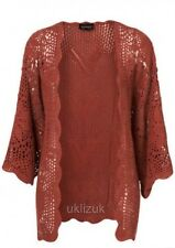 Topshop Oversize Rose Terracotta Knitted Crochet Kimono Cardigan  Size 8 10 12