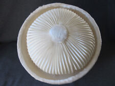 Vintage jeweled pin pleated silk faux fur rim & button on top creamy hat