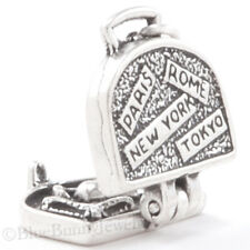 3D SUITCASE Pendant Paris France New York Charm 925 STERLING SILVER bin in store