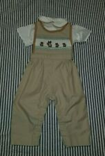 Vintage Baby Boy Set Romper And Shirt Size 18 Months Beige Animals