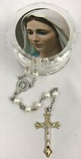 Faux Pearl Rosary Beaded Silver Tone NEW with Mary Holy Mother Case