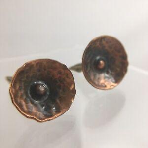 Hammered Copper Shield Abstract Cufflinks Modernist Brutalist Artisan VTG H1