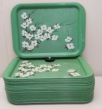 Green Floral Tray TV Lap Serving Vintage Metal 14x10 Mid Century Modern
