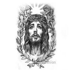 Jesus Christ Leaf Angel Arm Leg Body Art Waterproof Temporary Tattoo Sticker