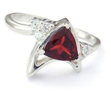 Star Trek - Garnet Trillion Ring (Size 10, Sterling Silver, Official RockLove)