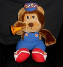 VINTAGE AMTOY BROWN TEDDY BEAR WITH HORN MUSIC NOTES STUFFED ANIMAL PLUSH TOY