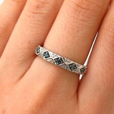 925 Sterling Silver Real White & Blue Diamond Ring Size 7