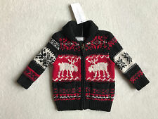 Ralph Lauren Fair Isle Reindeer Moose Zip Sweater Cardigan Boys 9 Month NEW $125