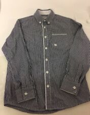 J Jeans JJ Boys Blue White Striped Long Sleeve Collared Cotton Shirt Age 10