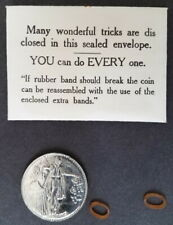 Vintage 1950s Ss Adams Folding Coin Trick, instructions, extra rubber bands
