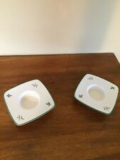 2 SPODE Square~Christmas Tree PatternVotive Tea Light Candle Holders~England~EUC
