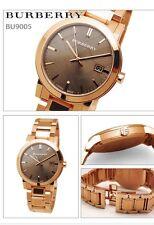 BURBERRY BU9005 Large Check Rosetone Swiss Stainless Steel Bracelet Watch NEW