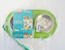 New Messy Mutts Stainless Steel Double Dog Feeder Non-Slip Silicone Base Green