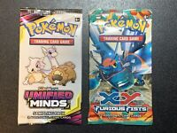 Pokemon XY Furious Fists Booster Pack & Sun And Moon Unified Minds Sample Pack