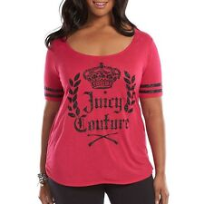 NWT Juicy Couture Plus Size Logo Glitter Graphic Tee Fashion T-Shirt Top 1X -