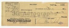 Mae West - Hollywood Icon - Authentic Autographed 1934 Check