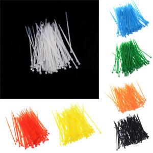 100x 3x100mm Nylon Plastic Colourful Cable Wire Organiser Zip Tie Cord Strap .SI