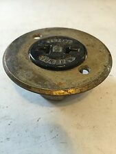 RARE BRYANT RECESSED BRASS PORCELAIN MANTLE BASEBOARD WALL PLUG RECEPTACLE