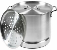 32-Quart Steamer Pot Aluminum Tamale and Seafood Steamer Cooking Silver