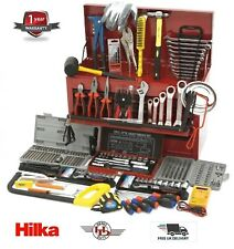 Hilka Tools Super Complete 270 pc Tool Kit With Red 9 Drawer Toolbox Tool Chest