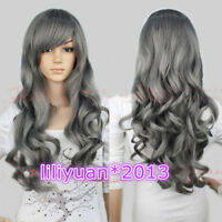 Popular Lolita gray Long Curly Cosplay Anime Hair Full Wigs+free wig cap