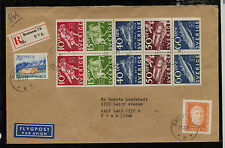 Sweden nice booklet pane on registered cover to Us Ms0130
