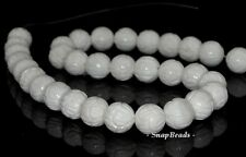10MM BAROQUE SHELL GEMSTONE WHITE CREAM CARVED ROUND 10MM LOOSE BEADS 15.5""