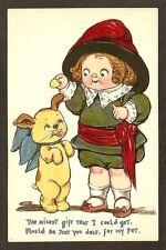TUCK POSTCARD: GRACE WIEDERSEIM DRAYTON - CUTE LITTLE GIRL w/ HER PET PUPPY DOG