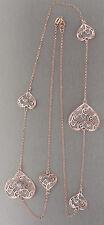 80 cm Silberkette 925 - Rosegold mit Herzen - lange Herz Kette Silber Rotgold