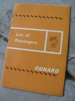 Vintage 1965 Booklet - List of Passengers RMS Queen Elizabeth Cunard Lines
