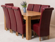 Kuba Solid Oak 180cm Dining Room Kitchen Table & 8 Ivory Leather Montana Chairs Burgundy