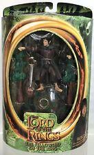 """LOTR FOTR Frodo Baggins Ringwraith Reveal Base Sword Attack 6"""" Figure ToyBiz"""